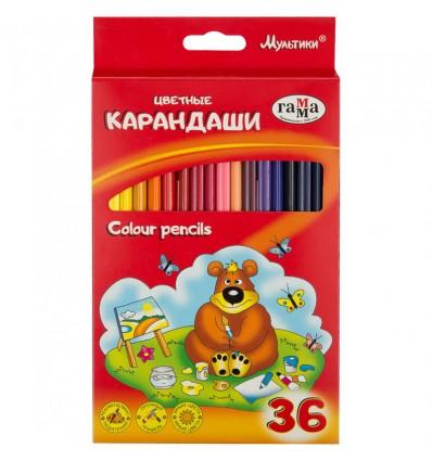 Карандаши цветные Гамма Мультики трехгранные, 36 цветов, картон