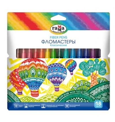 Фломастеры Гамма Классические, 18 цветов