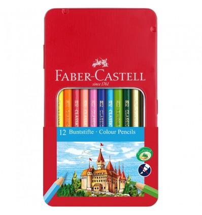 Набор цветных карандашей FABER-CASTELL ЗАМОК, 12 цветов, в метал. коробке