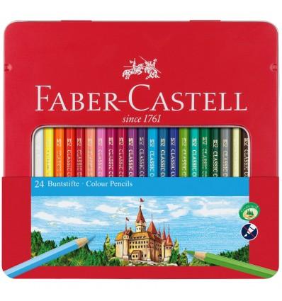 Набор цветных карандашей FABER-CASTELL ЗАМОК, 24 цвета, в метал. коробке