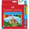Набор цветных карандашей FABER-CASTELL ЗАМОК, 24 цвета (+ 3 двухцветных карандаша и точилка)