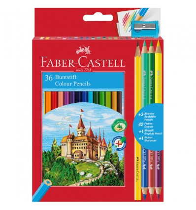Набор цветных карандашей FABER-CASTELL ЗАМОК, 36 цветов (+ 3 двухцветных карандаша и точилка)