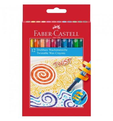 Карандаши восковые FABER-CASTELL TWIST с выкручивающимся стержнем, 12 цветов