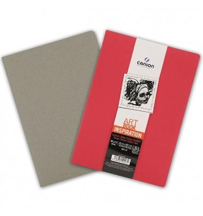 Скетчбук CANSON Inspiration А4 21*29.7см, 96гр. 36л., мягкая обложка Красный яркий/Серый стальной, 2шт