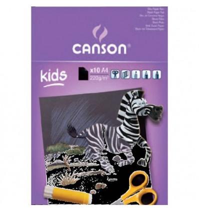 Альбом CANSON Kids, 220гр., А4 (21*29.7см), чёрная бумага 10л., склейка