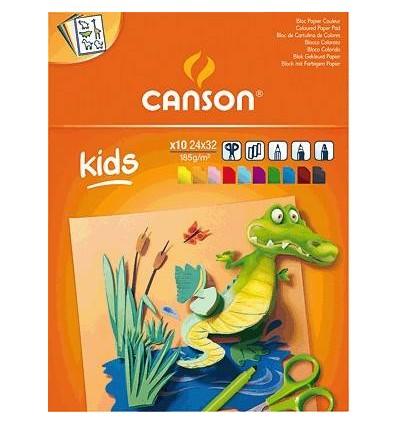 Альбом CANSON Kids., А4 (24*32см), 185гр., цветная бумага 10л., склейка
