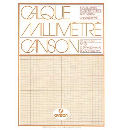 Калька миллиметровая CANSON А3 (29.7* 42см), 75г/кв.м, склейка