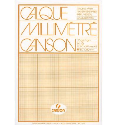 Калька миллиметровая CANSON А4 (21*29.7), 70г/кв.м, 50л., склейка
