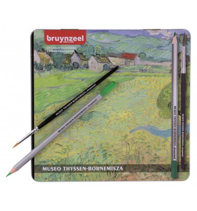 Набор цветных акварельных карандашей Bruynzeel Thyssen 'Вид на Вессенот близ Овера' Ван Гог, 24 цвета в металлической коробке