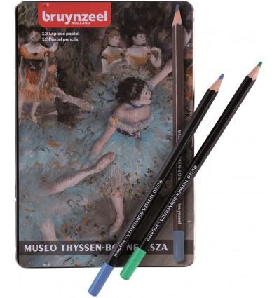 Набор цветных пастельных карандашей Bruynzeel Thyssen 'Танцовщица в зеленом' Дега, 12 цветов, в метал. коробке