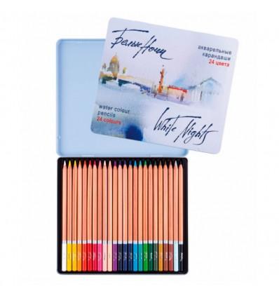 Карандаши акварельные цветные БЕЛЫЕ НОЧИ, 24 цвета в метал. коробке