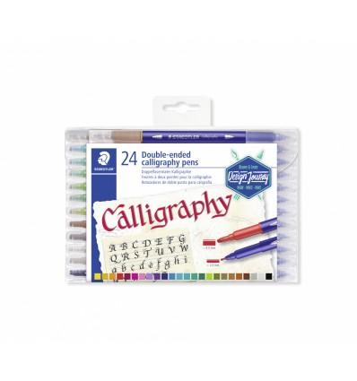 Фломастеры STAEDTLER Calligraph duo для каллиграфии, 24 цвета, двусторонние