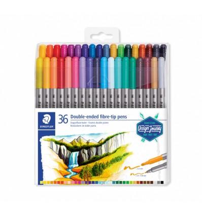 Фломастеры STAEDTLER Design Journey duo, 36 цветов, двусторонние