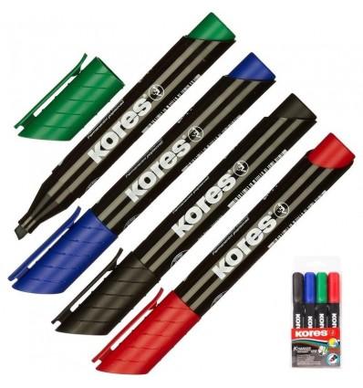 Набор перманентных маркеров KORES 20945, 3-5ММ скошенный наконечник, 4ШТ/УП