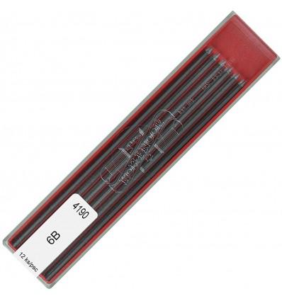Грифели для цанговых карандашей Koh-i-Noor 4190/6В, 2,0 мм, 12 штук