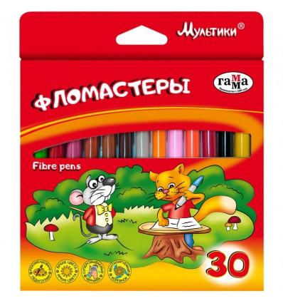 Фломастеры ГАММА Мультики, 30 цветов