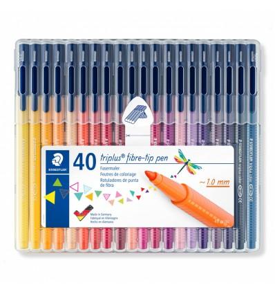 Набор фломастеров STAEDTLER Triplus Color 323, 40 цветов в прозрачном пенале