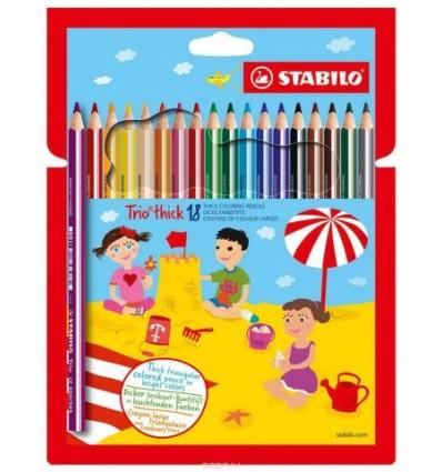 Набор треугольных цветных утолщенных карандашей Stabilo Trio, 18 цветов