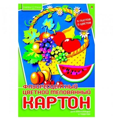 Картон цветной флюоресцентный № 18, А4, 5 цветов - 10 листов