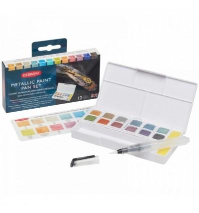 Набор акварельных (чернильных) красок Derwent Inktense METALLIC Paint Pan Set, 12 цветов в кюветах, в пластиковом пенале, кисть