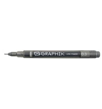 Ручка капиллярная DERWENT Line Maker 0.3мм, ГРАФИТ