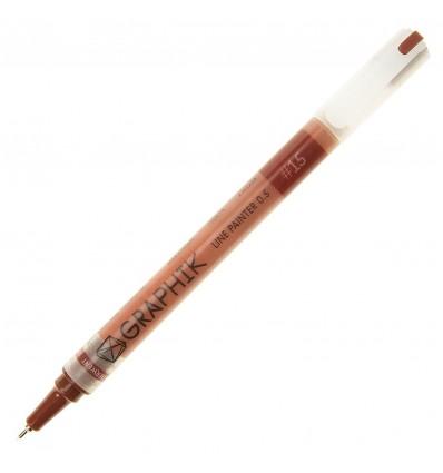 Ручка капиллярная DERWENT GRAPHIK LINE PAINTER 0.5мм, Цвет: №15 красно-коричневый
