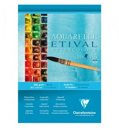 Альбом для акварели Clairefontaine Etival, А3, 200гр., холодное прессование, 10 листов, склейка