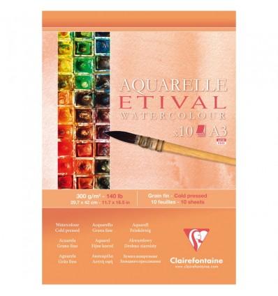 Альбом для акварели Clairefontaine Etival, А3, 300гр., холодное прессование, 10 листов, склейка