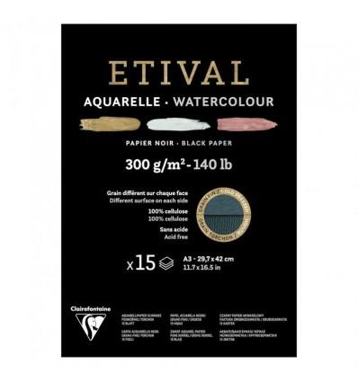 Альбом для акварели Clairefontaine Etival, А3, 300гр., холод. прес./Торшон, черная, 15 листов, склейка