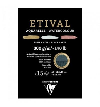 Альбом для акварели Clairefontaine Etival, А5, 300гр., холод. прес./Торшон, черная, 15 листов, склейка