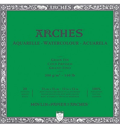 Альбом для акварели Arches FIN 31*31см, 300гр. 20л., бумага мелкозернистая, склейка по 4-м сторонам