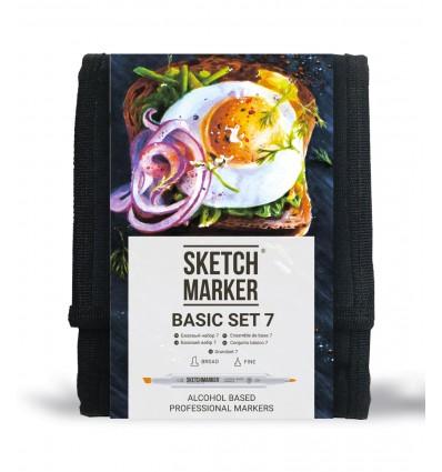Набор маркеров SKETCHMARKER Basic 7 ( БАЗОВЫЙ 7), 2 пера (долото и тонкое), 12 цветов в сумке-органайзер