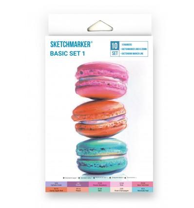 Набор маркеров SKETCHMARKER Basic 1 ( БАЗОВЫЙ 1), 2 пера (долото и тонкое), 10 цветов в картоне