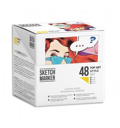 Набор маркеров SKETCHMARKER Pop Art Style (СТИЛЬ ПОП АРТ), 2 пера (долото и тонкое), 48 цветов в пластиковом боксе