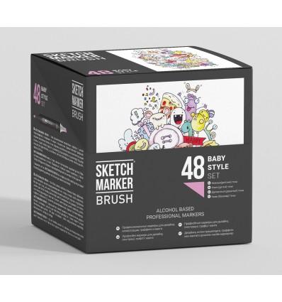 Набор маркеров SKETCHMARKER BRUSH Baby Style (НЕЖНЫЕ ДЕТСКИЕ ТОНА), 2 пера (долото и кисть), 48 цветов в пластиковом боксе