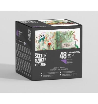 Набор маркеров SKETCHMARKER BRUSH Сhinoiserie Style (ШИНУАЗРИ), 2 пера (долото и кисть), 48 цветов в пластиковом боксе