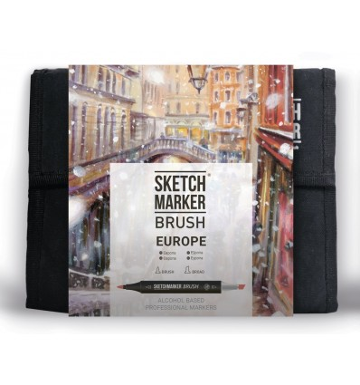 Набор маркеров SKETCHMARKER BRUSH Europe (ЕВРОПА), 2 пера (долото и кисть), 36 цветов в сумке-органайзере