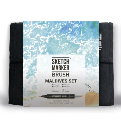 Набор маркеров SKETCHMARKER BRUSH Maldives (МАЛЬДИВЫ), 2 пера (долото и кисть), 36 цветов в сумке-органайзере