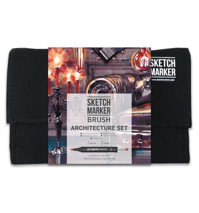 Набор маркеров SKETCHMARKER BRUSH Architecture (АРХИТЕКТУРА), 2 пера (долото и кисть), 24 цвета в сумке-органайзере
