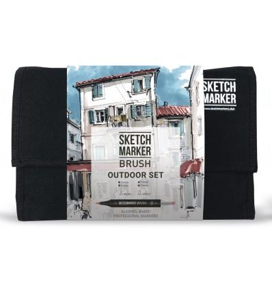 Набор маркеров SKETCHMARKER BRUSH Outdoor (ПЛЕНЭР), 2 пера (долото и кисть), 24 цвета в сумке-органайзере