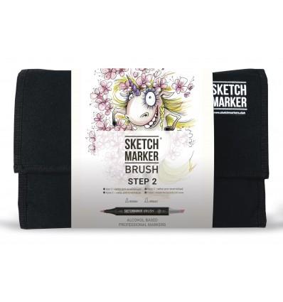 Набор маркеров SKETCHMARKER BRUSH STEP 2 (ШАГ 2), 2 пера (долото и кисть), 24 цвета в сумке-органайзере