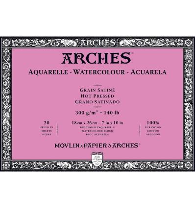 Альбом для акварели Arches Satin 18*26см, 300гр. 20л., бумага гладкая, склейка по 4-м сторонам