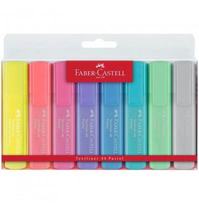 Набор текстовыделителей Faber-Castell 46 Pastel+Superfluorescent, скошенный наконечник, 1-5мм, 8 цветов
