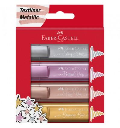 Набор текстовыделителей Faber-Castell TL 46 металлик, скошенный наконечник, 1-5мм, 4 цвета