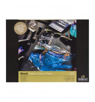 Альбом для акварели ROYAL TALENS Rembrandt Black, 24х32см, 360гр., Черная бумага, 10л., склейка по 4-м сторонам
