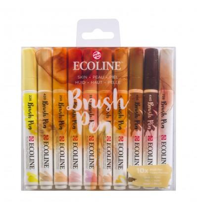 Набор акварельных маркеров ROYAL TALENS Ecoline Brush Pen Skin, 10 цветов оттенков кожи