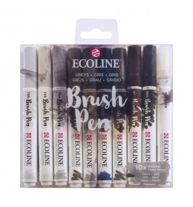 Набор акварельных маркеров ROYAL TALENS Ecoline Brush Pen Greys, 10 цветов серых оттенков