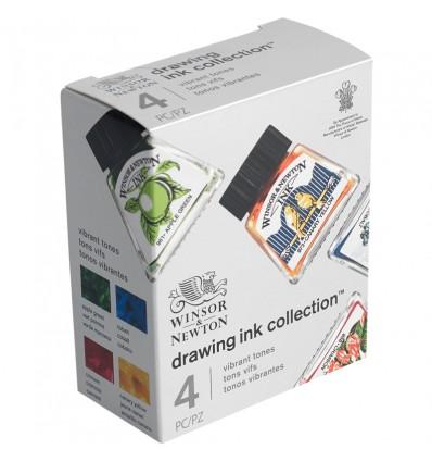 Набор художественной туши Winsor&Newton для рисования, 4цв. по 14мл (кобальт, желтый солнечный, зеленое яблоко, кармин)