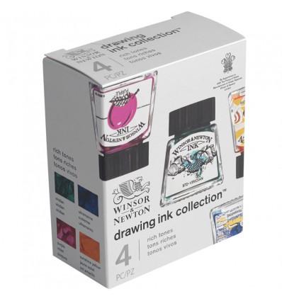 Набор художественной туши Winsor&Newton для рисования, 4цв. по 14мл (ультрамарин, пурпурный, желтый канареечный, виридиан)