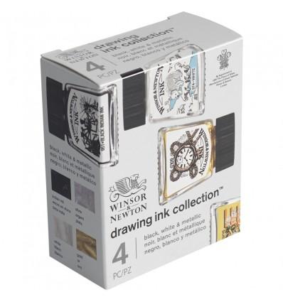 Набор художественной туши Winsor&Newton Drawing Ink для рисования, 4цв. по 14мл (черный, белый, золотой, серебрянный)